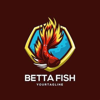 Beta fish logo template colorato mezza luna fantasia tropicale elegante