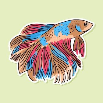 Disegno del fumetto di pesce betta