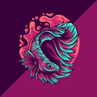 Betta pesce esport mascotte logo illustrazione