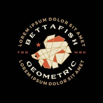 Betta pesce distintivo geometrico maglietta tee merch logo icona vettore illustrazione
