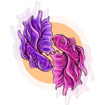 Illustrazione di pesce betta