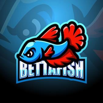 Betta pesce mascotte esport illustrazione