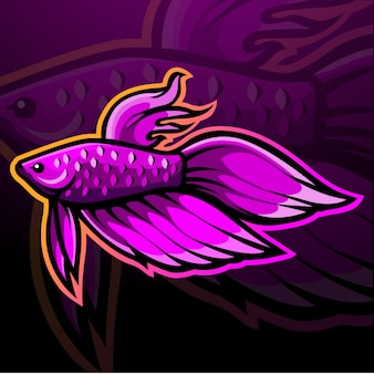 Betta pesce mascotte esport logo design