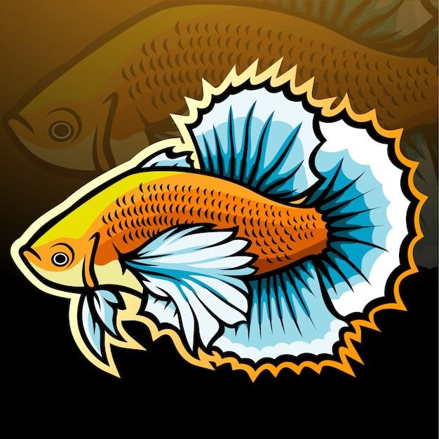 Betta pesce mascotte esport logo design