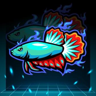 Mascotte di pesce betta. design del logo esport.