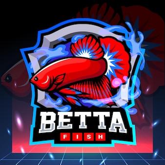 Mascotte di pesce betta. design del logo esport