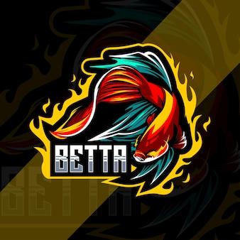 Betta fish mascotte logo esport modello di progettazione