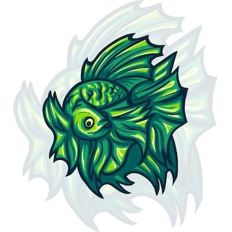 Betta pesce mascotte logo illustrazione