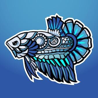 Betta pesce mecha robot mascotte esport logo design