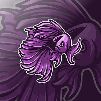 Modello di logo vettoriale di pesce betta
