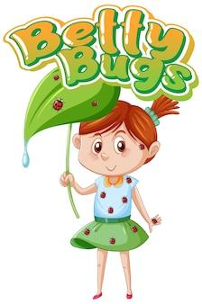 Disegno del testo del logo betty bugs con coccinelle appollaiate sul corpo della ragazza