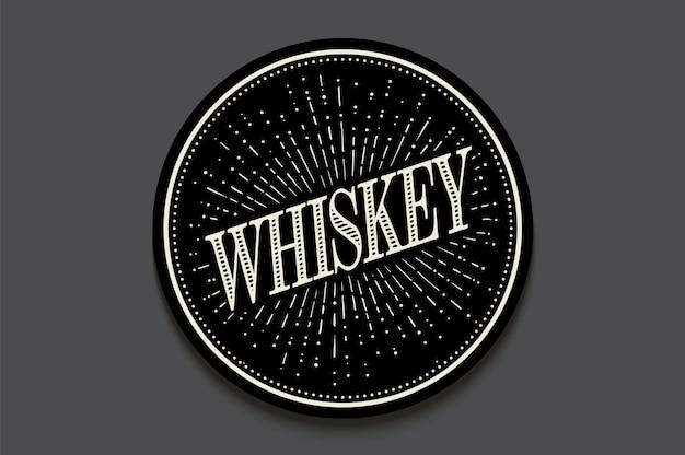 Sottobicchiere per bevande in vetro con scritta whisky, raggi di luce e sunburst.