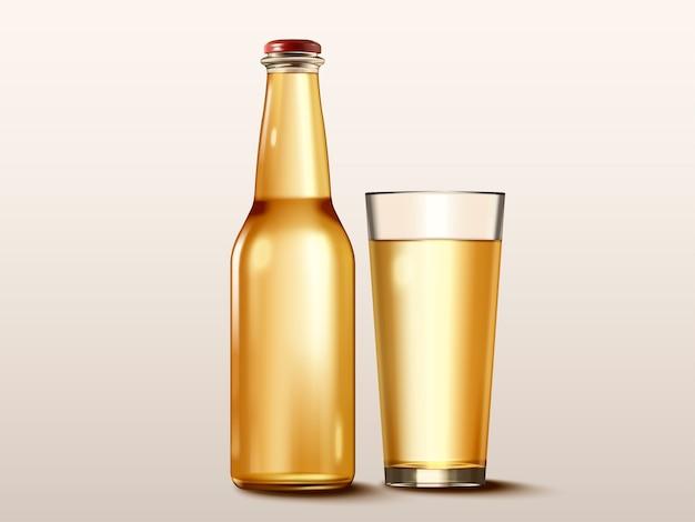 Mockup di contenitore per bevande, bottiglia di vetro senza etichetta nell'illustrazione per usi