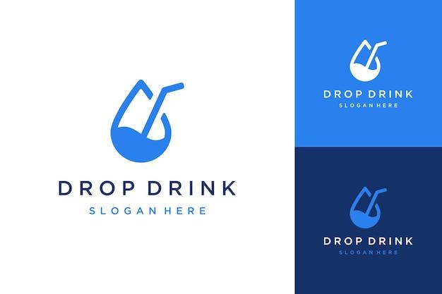 Logo del design della bevanda o goccia d'acqua con una cannuccia