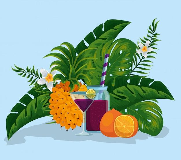 Bevande con mela di pino e frutti d'arancia con foglie