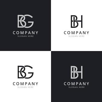 Modelli di logo iniziale della lettera bg bh