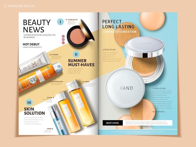 Brochure pieghevole con prodotti cosmetici e resistenti al sole, può essere utilizzata su riviste o cataloghi