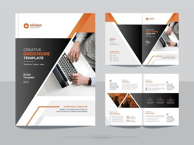 Modello di progettazione brochure pieghevole a due per agenzia di affari aziendali