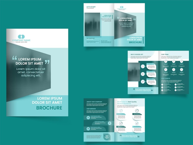 Brochure aziendale ripiegabile, layout del volantino nella vista anteriore e posteriore.