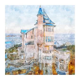 Illustrazione disegnata a mano di schizzo dell'acquerello di biarritz francia