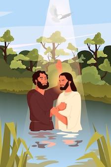 Racconto biblico sul battesimo di gesù cristo. giovanni battista con gesù in piedi nell'acqua. spirito santo come una colomba che scende su di loro. carattere biblico cristiano. .