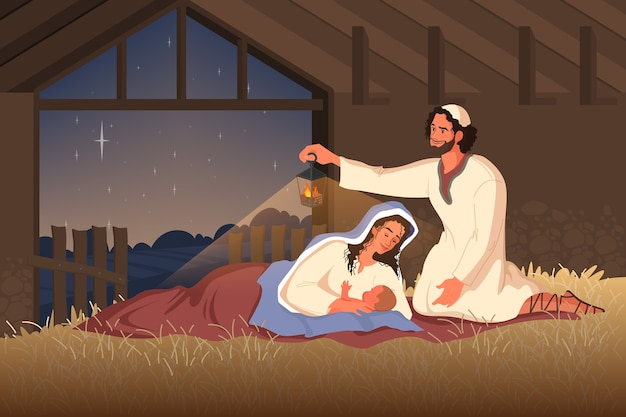 Racconti biblici sulla natività di gesù. maria, madre di gesù, giuseppe e gesù bambino nella stalla. carattere biblico cristiano. .