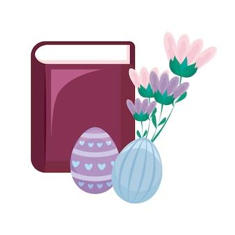 Bibbia con uova di pasqua e fiori