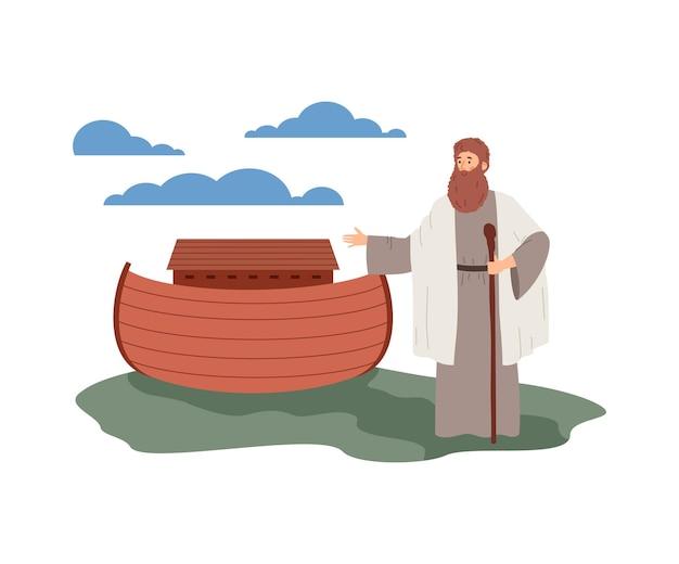 Inondazione biblica con noè in piedi vicino all'arca piatta illustrazione vettoriale isolata
