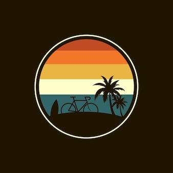 Disegno dell'illustrazione del logo del viaggio in spiaggia in bicicletta