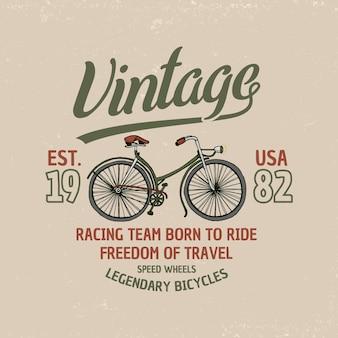 Bicicletta, bici o velocipede. illustrazione di viaggio. emblema o etichetta con logo, inciso a mano disegnato nel vecchio schizzo e trasporto vintage.