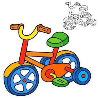 Bicicletta. pagina del libro da colorare. illustrazione del fumetto