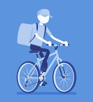 Ragazzo delle consegne di biciclette. l'addetto al servizio di corriere in bicicletta consegna cibo, ordini, pacchi al cliente, spedizione in città di ordinazione online. illustrazione vettoriale con personaggio senza volto