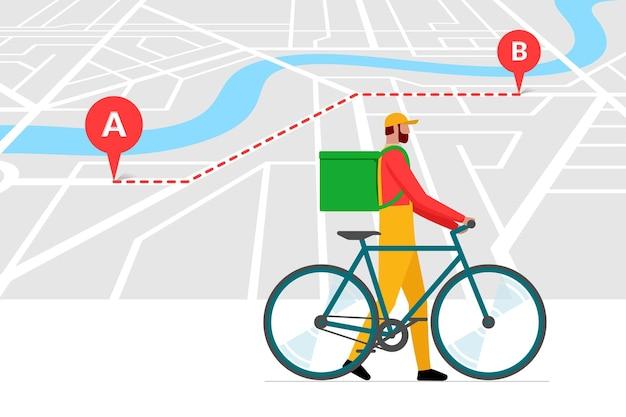 Modello di progettazione banner servizio di ordinazione consegna biciclette. percorso con geotag gps perni di posizione sulla mappa stradale della città e corriere espresso con zaino. illustrazione vettoriale di ordine online