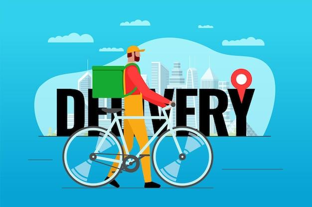 Concetto di design del servizio di ordinazione per la consegna delle biciclette. corriere espresso per la spedizione della bici con zaino e geotag geolocalizzatore su iscrizione e città. illustrazione di vettore di ordine sicuro online eps