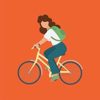 La donna della ragazza della bicicletta va su un'illustrazione di viaggio turistico