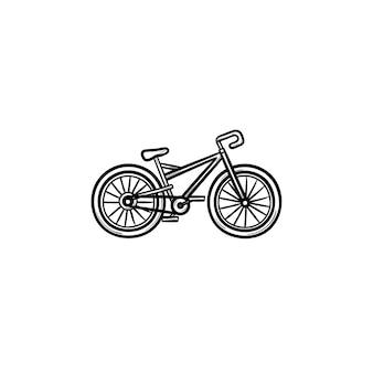 Icona di doodle di contorno disegnato a mano di bicicletta. ciclismo, trasporto sportivo, competizione ciclistica, concetto di attività all'aperto