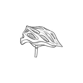 Icona di doodle di contorno disegnato a mano di bicicletta casco. attrezzatura per biciclette, sicurezza in bicicletta, concetto di abbigliamento sportivo
