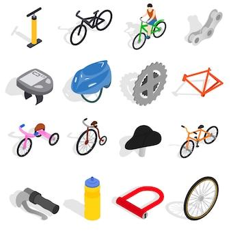 Le icone della bicicletta hanno messo nello stile isometrico 3d isolato su fondo bianco