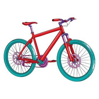 Bicicletta. giornata internazionale della bicicletta. bicicletta disegnata in stile cartone animato. illustrazione vettoriale per design e decorazione.