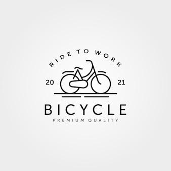 Design minimalista vintage di biciclette line art logo