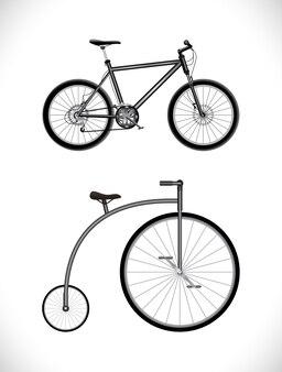 Icona di bicicletta moderna e vecchia