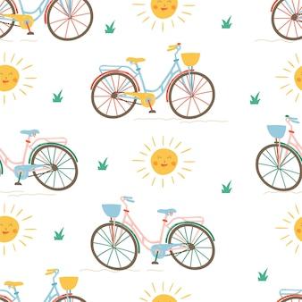 Modello di bicicletta con sole ed erba