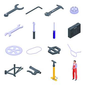 Set di icone di riparazione di biciclette. insieme isometrico delle icone di riparazione della bicicletta per il web isolato su priorità bassa bianca