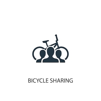 Icona di condivisione di biciclette. illustrazione semplice dell'elemento. progettazione di simboli di concetto di condivisione di biciclette. può essere utilizzato per web e mobile.