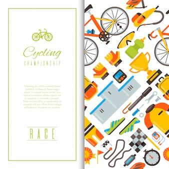 Illustrazione senza cuciture di vettore del modello degli accessori di sport e dell'uniforme della bicicletta.