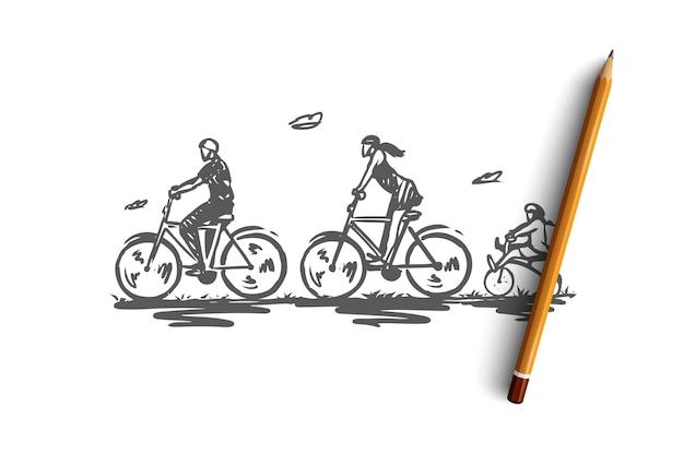 Bicicletta, passeggiata, sport, famiglia, concetto attivo. attività familiare disegnata a mano con schizzo di concetto di biciclette. illustrazione.