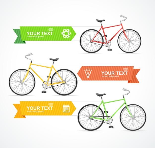 Bicicletta con tre opzioni sul modello di banner a nastro