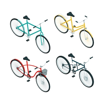 Biciclette isometriche. vari tipi di bici su bianco