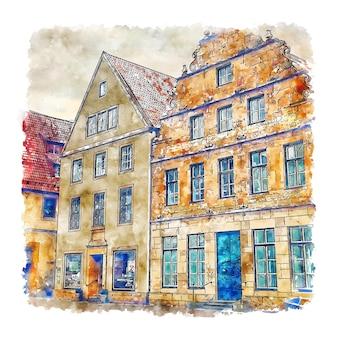 Illustrazione disegnata a mano di schizzo dell'acquerello di bielefeld altstadt germania