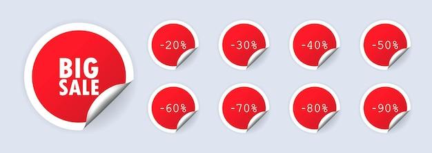 Set di etichette sconto vendita bif. 20, 50,70 per cento di sconto. vettore